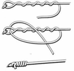"""схема вязания узла """"клинч"""""""