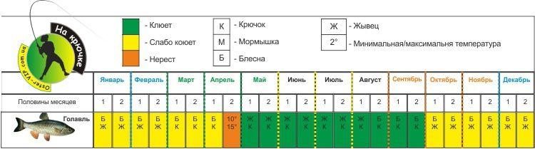 Календарь ловли Голавля